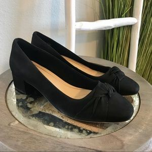 Clarks | Black Leather Orabella Lilly Chunky Heel